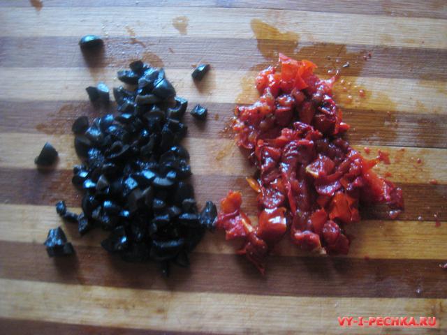 Чиабатта с оливками и вялеными помидорами фото рецепт