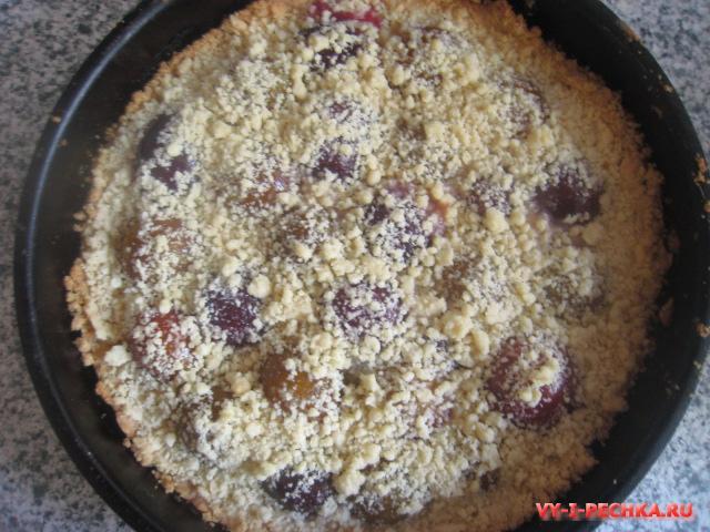 Сливовой пирог с песочным тестом (фото рецепт)
