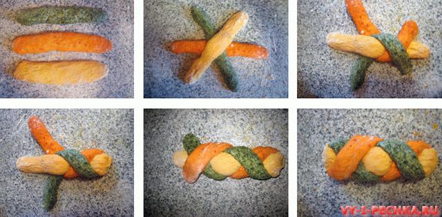 Формовка трехцветного хлеба фото_result