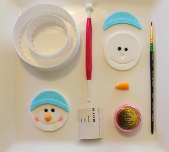 снеговик на капкейках из мастики