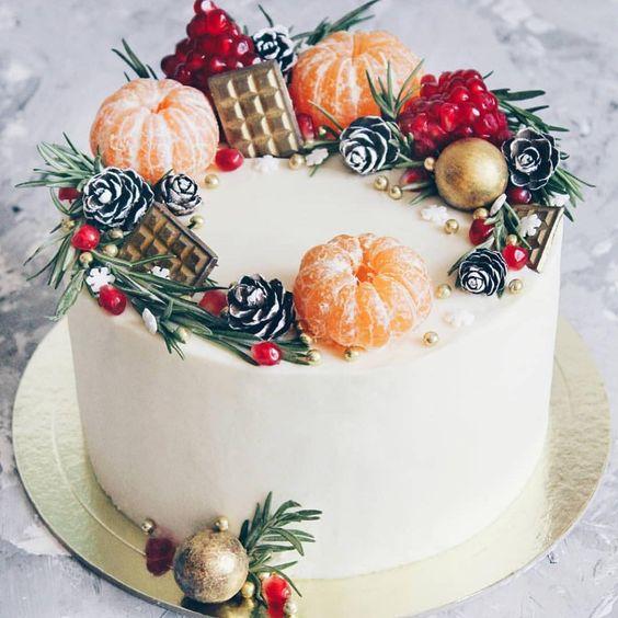 торт к Новому году с мандаринами