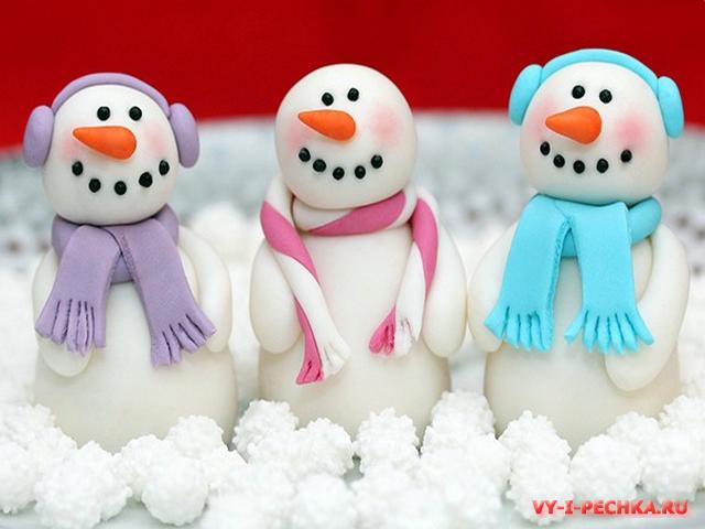 съедобный снеговик из мастики пошаговый мастер класс