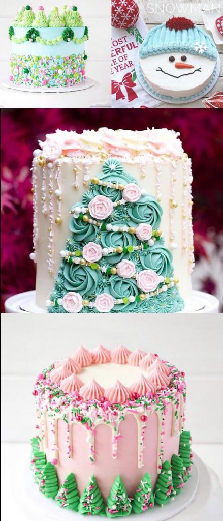 украшение новогоднего торта кремом фото
